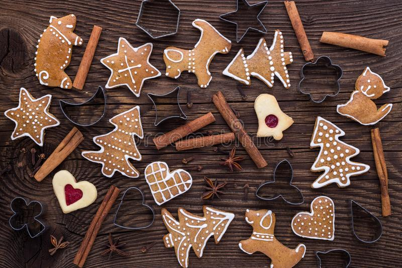 Christmas homemade gingerbread cookies on wooden background royalty free stock photography