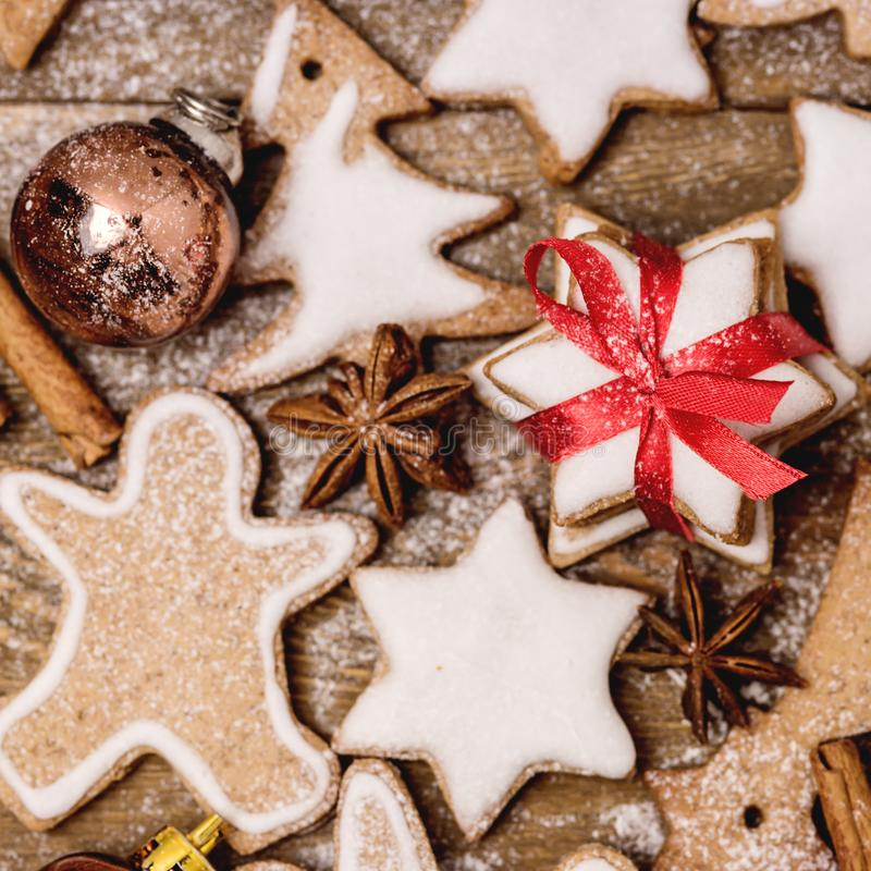 Christmas Homemade Gingerbread Cookies on Wooden Background Christmas Background Christmas Sweet Food Gingerbread Man.  stock photography