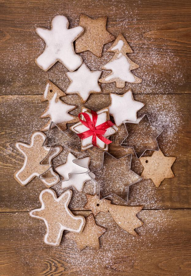Christmas Homemade Gingerbread Cookies on Wooden Background Christmas Background Christmas Sweet Food Vertical Flat Lay stock image