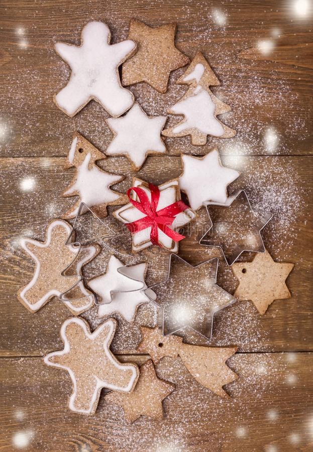 Christmas Homemade Gingerbread Cookies on Wooden Background Christmas Background Christmas Sweet Food Vertical Toned Top View stock image