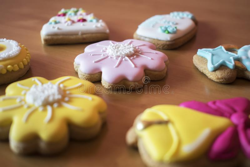 Christmas homemade gingerbread cookies on wooden table stock images
