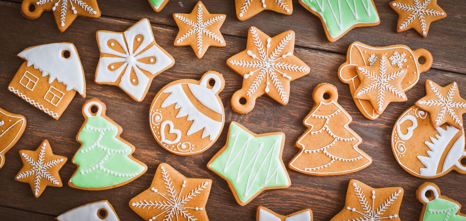 Christmas homemade gingerbread house cookie wooden background royalty free stock photography