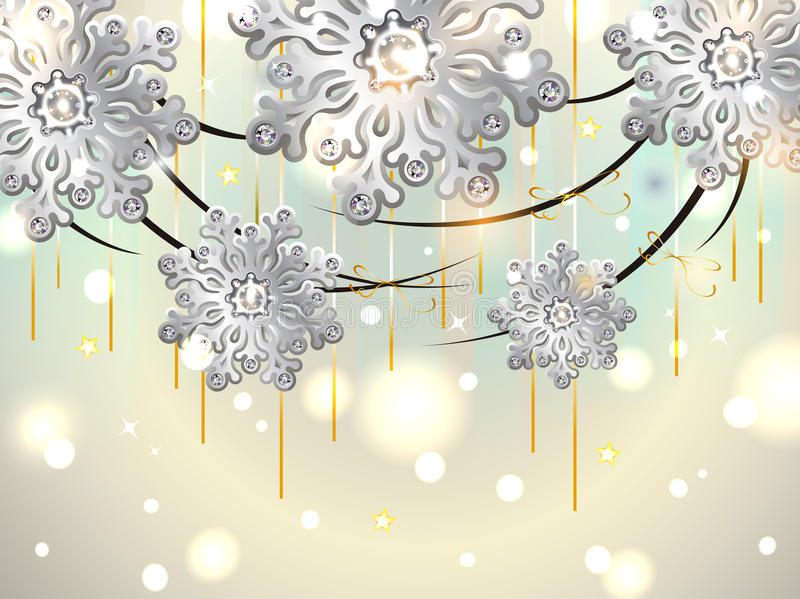 Download Christmas Horizontal Card With Silver Snowflakes Stock Image - Image: 33582611