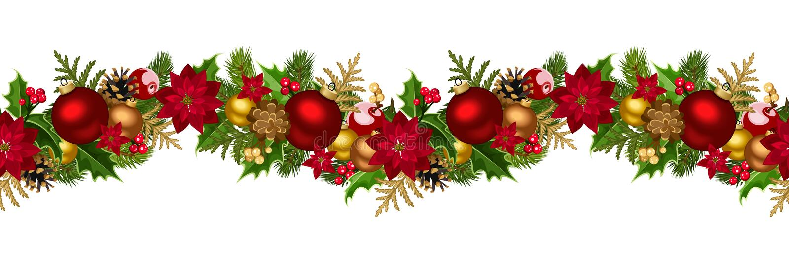 Christmas horizontal seamless background stock vector