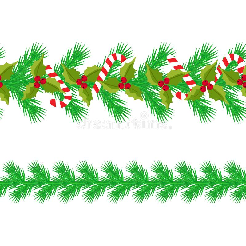 Christmas horizontal seamless background. Vector illustration. seamless strip of fir branches, candy, holly berry stock illustration