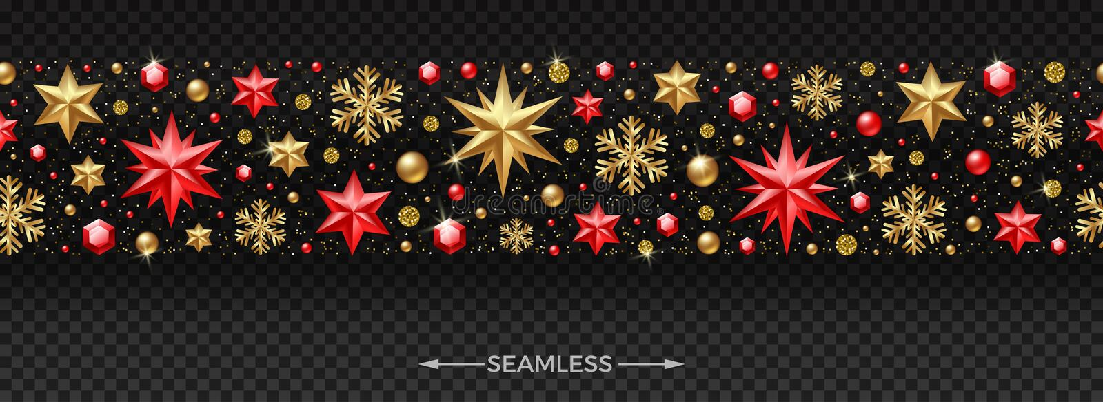 Christmas horizontal seamless pattern with Christmas decoration. Stars, ruby gems, golden snowflakes, beads and glitter gold vector illustration