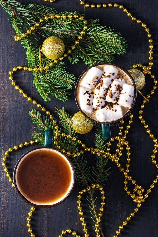 Christmas hot chocolate drink, top view. A cup of color is a shaded spruce. stock photo