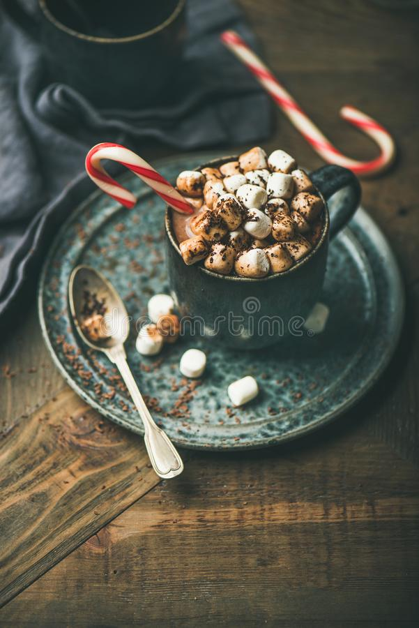Christmas hot chocolate with marshmallows and cocoa, copy space royalty free stock photos