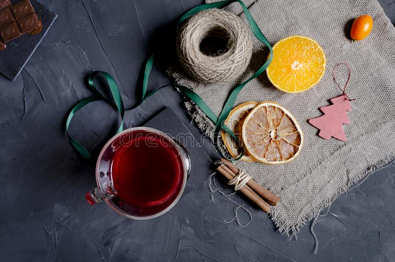 Christmas hot mulled wine with aromatic spices stock photo