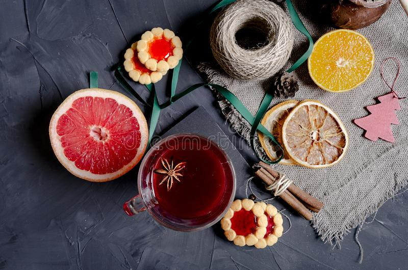 Christmas hot mulled wine with aromatic spices stock photos