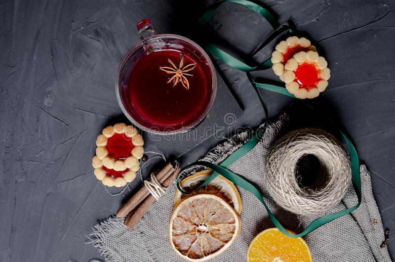 Christmas hot mulled wine with aromatic spices royalty free stock photo