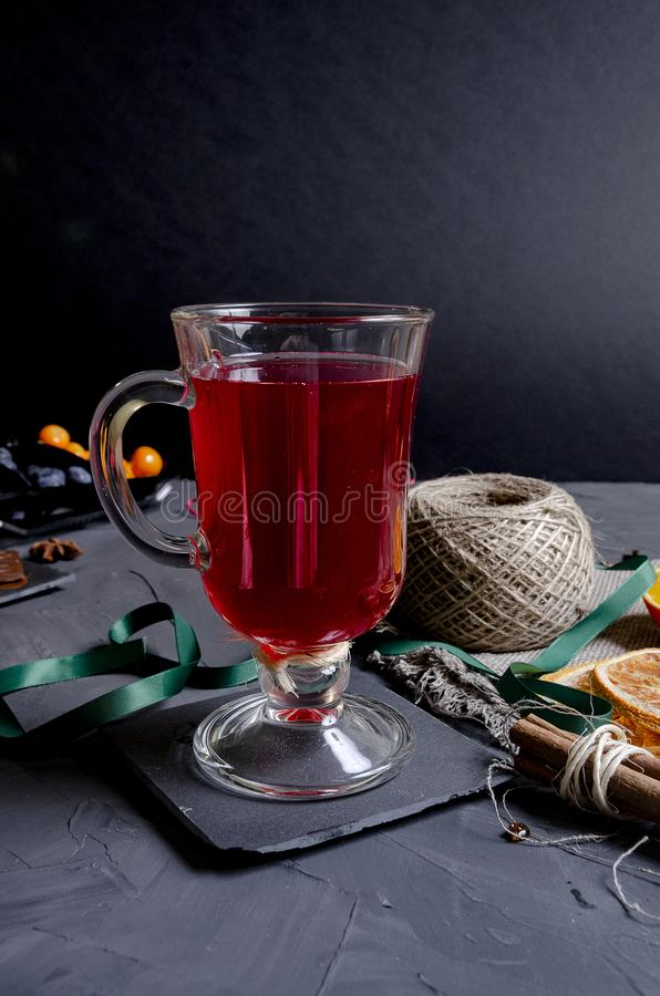 Christmas hot mulled wine with aromatic spices royalty free stock photography