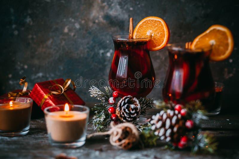Christmas hot mulled wine stock photo
