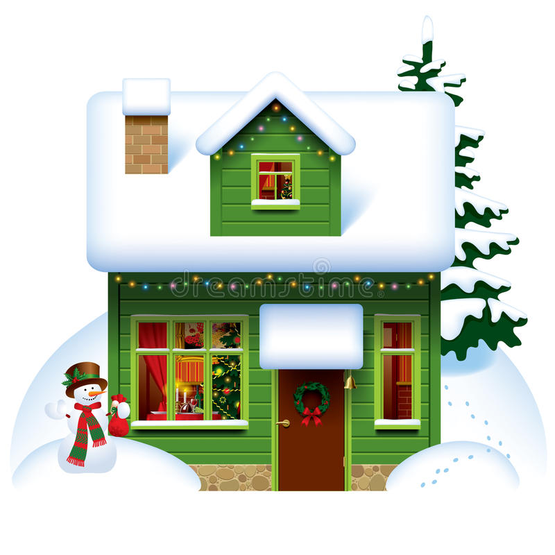 Christmas house vector illustration