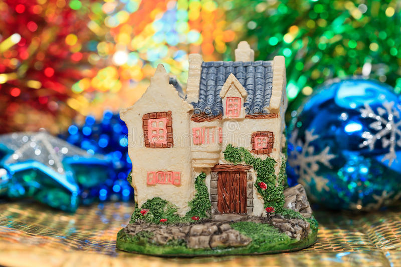 Christmas house and decorations royalty free stock photography
