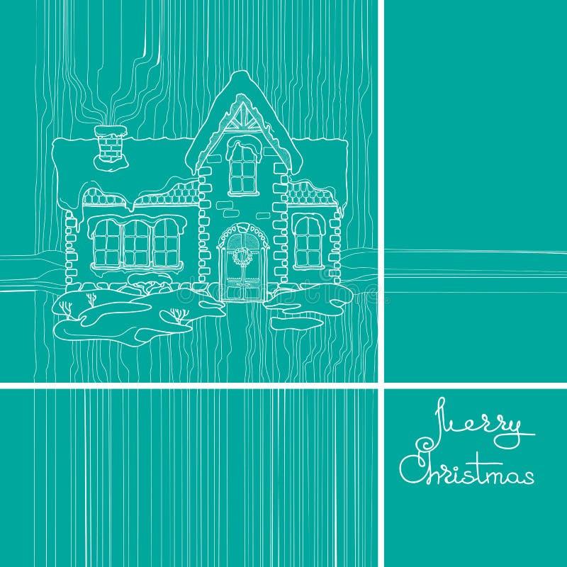 Christmas house and handwritten words. Christmas house and handwritten words on blue background. Merry Christmas celebrations vector illustration stock illustration