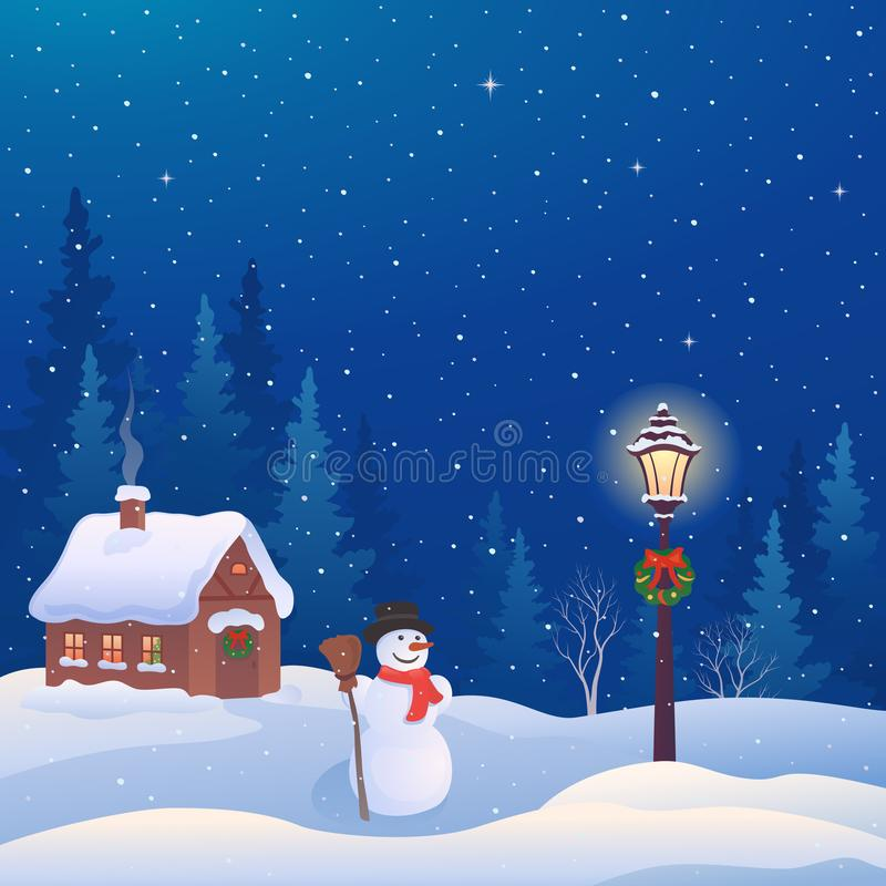 Christmas house and snowman vector illustration