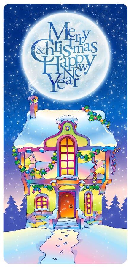 Christmas house under the moonlight stock photos