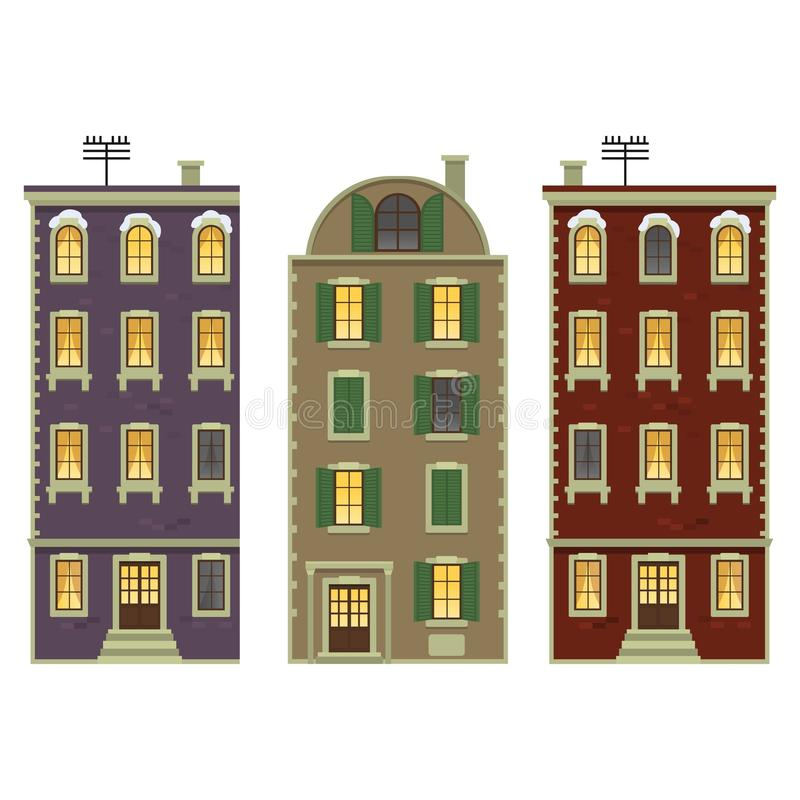 Christmas house vector. Christmas Traditional old building house architecture travel vector stock illustration