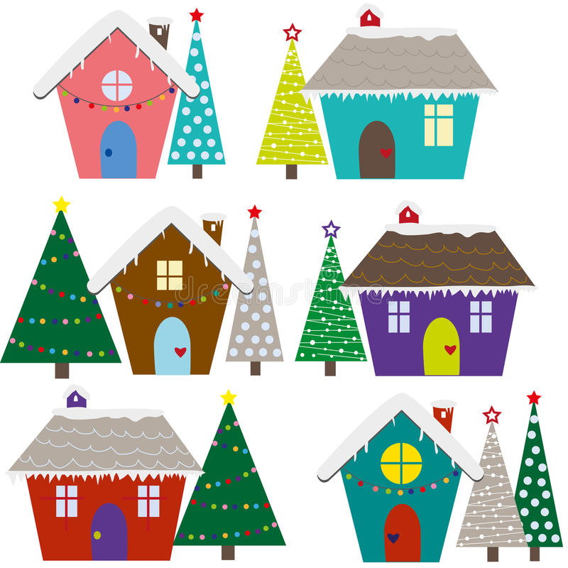 Christmas houses vector royalty free illustration