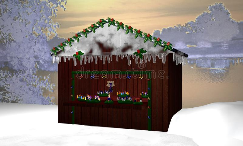 Christmas hut with Advent wreaths, little fairy and burning Advent candle in a winter landscape vector illustration