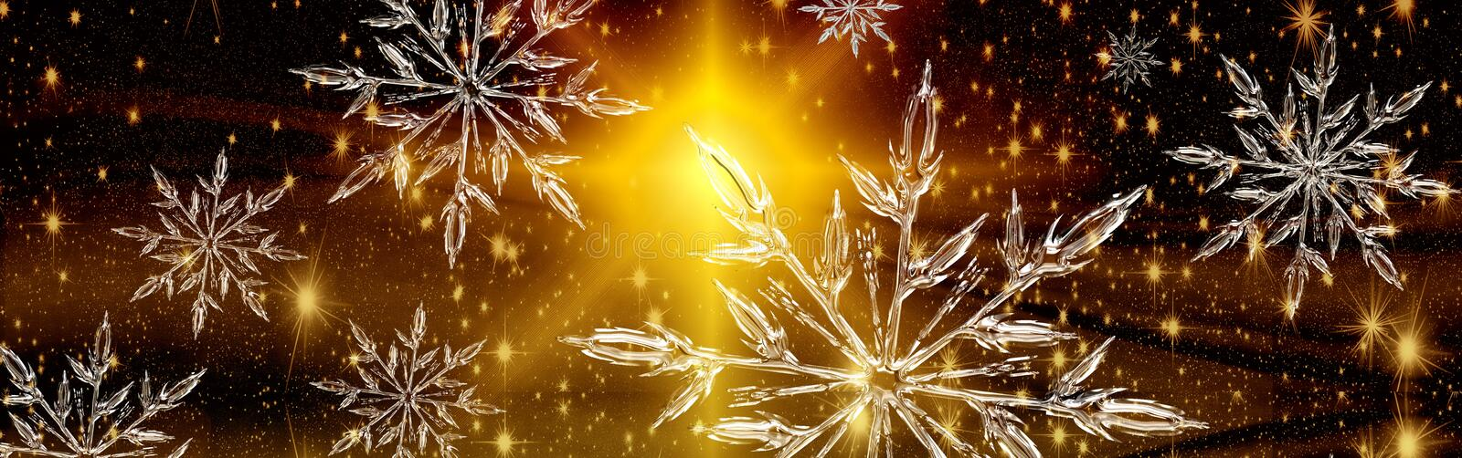 Christmas ice crystal banner, background stock photography