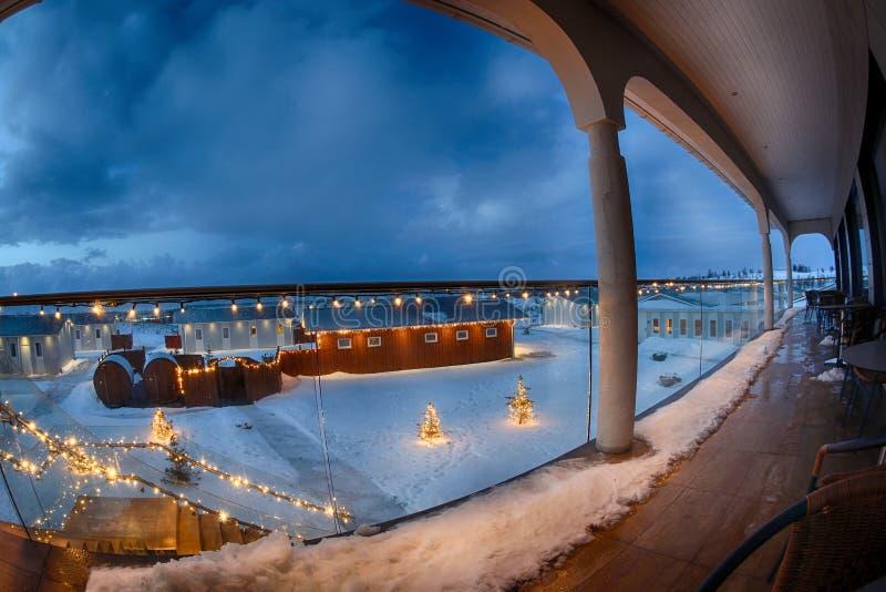 Christmas Iceland vik winter view balcony. Christmas Iceland Vik winter landscape hotel balcony stock image