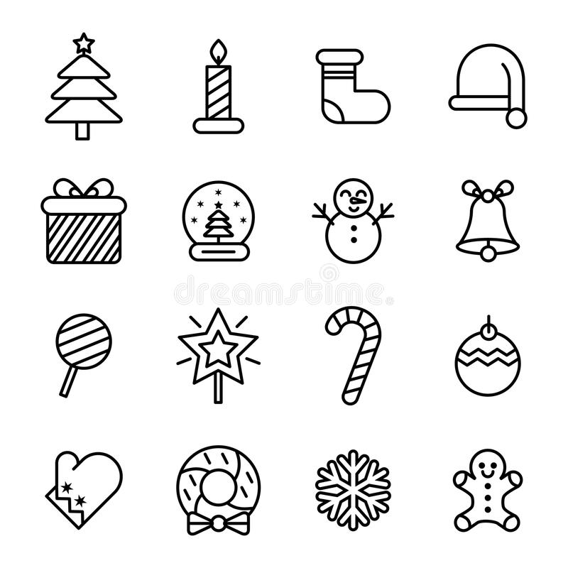 Christmas Icon. With Outline Style stock illustration