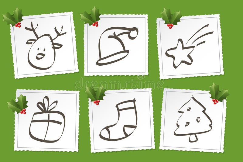 Christmas icon set. Drawings and holly ornaments