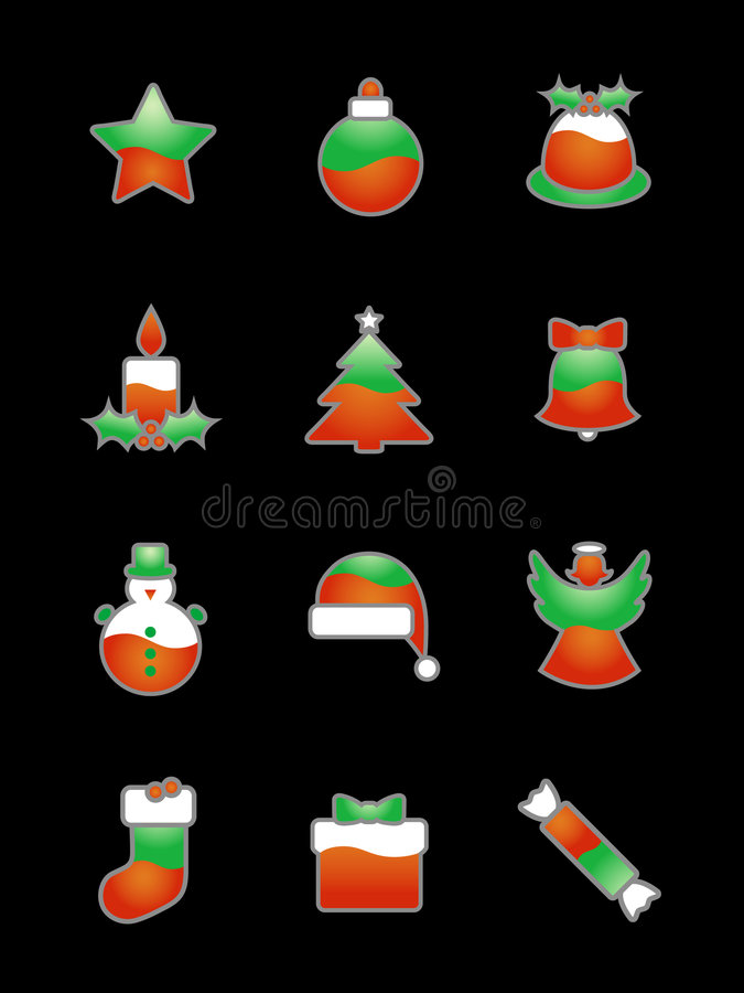 Christmas Icon Set On Black vector illustration