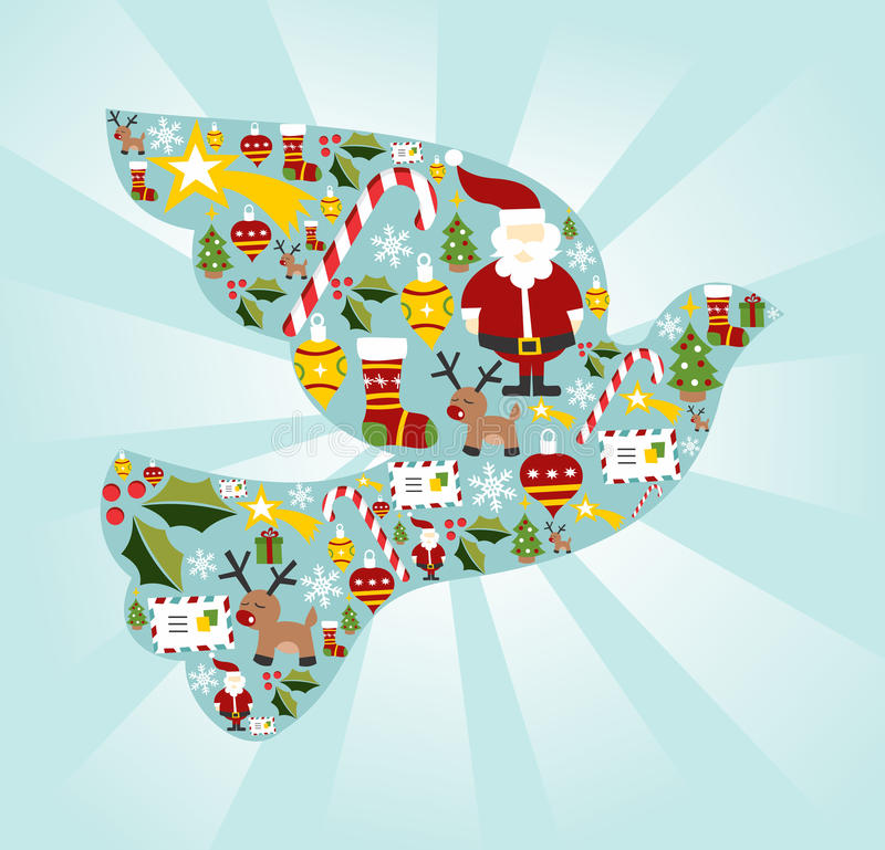 Christmas icon set in dove of peace shape royalty free illustration