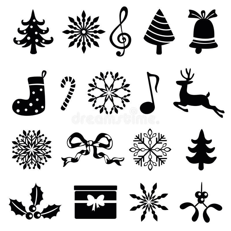 Christmas icon set. Isolated on white stock illustration
