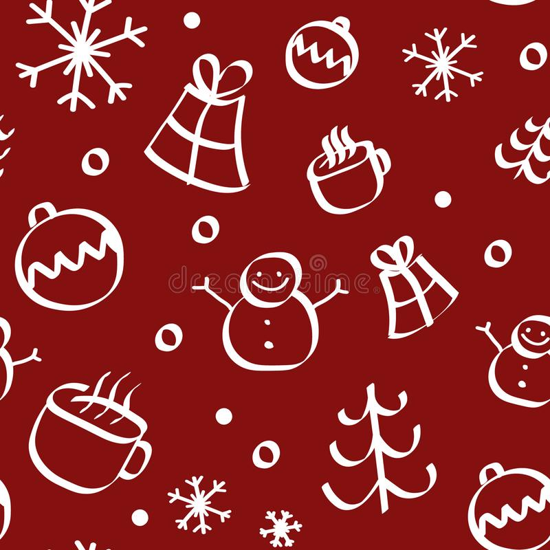 Seamless pattern of christmas texture icons on red background stock photography