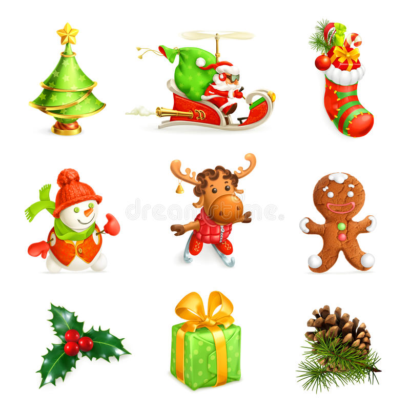 Christmas icon set. On white background vector illustration
