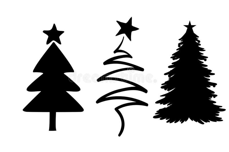 Christmas icon set on white background. Christmas icon set white background illustration merry new black simple drawing creative concept graphic happy year stock images