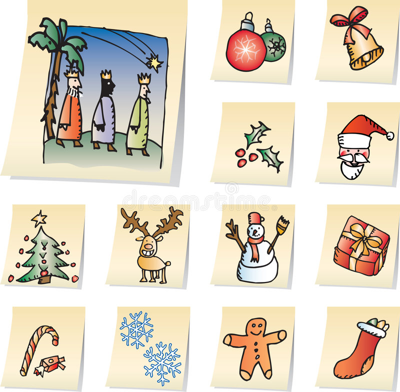Christmas icons. Vectorized hand drawn christmas icons on memo papers