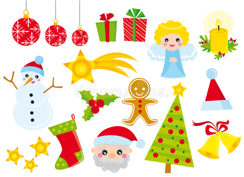 Christmas icons stock illustration
