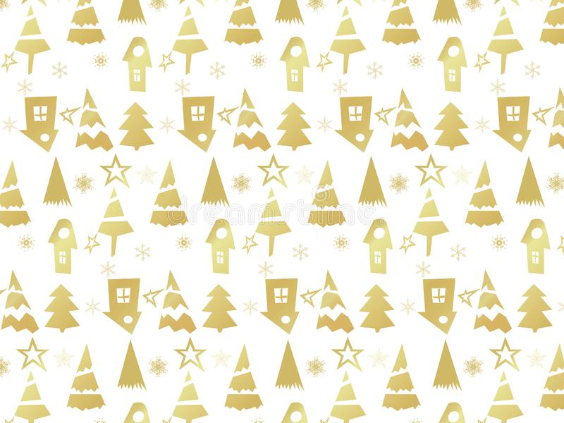Christmas Icons background with New Year Tree, Snow and Stars. Happy Winter Holiday Wallpaper with Nature Decor elements. Fir Tree stock illustration