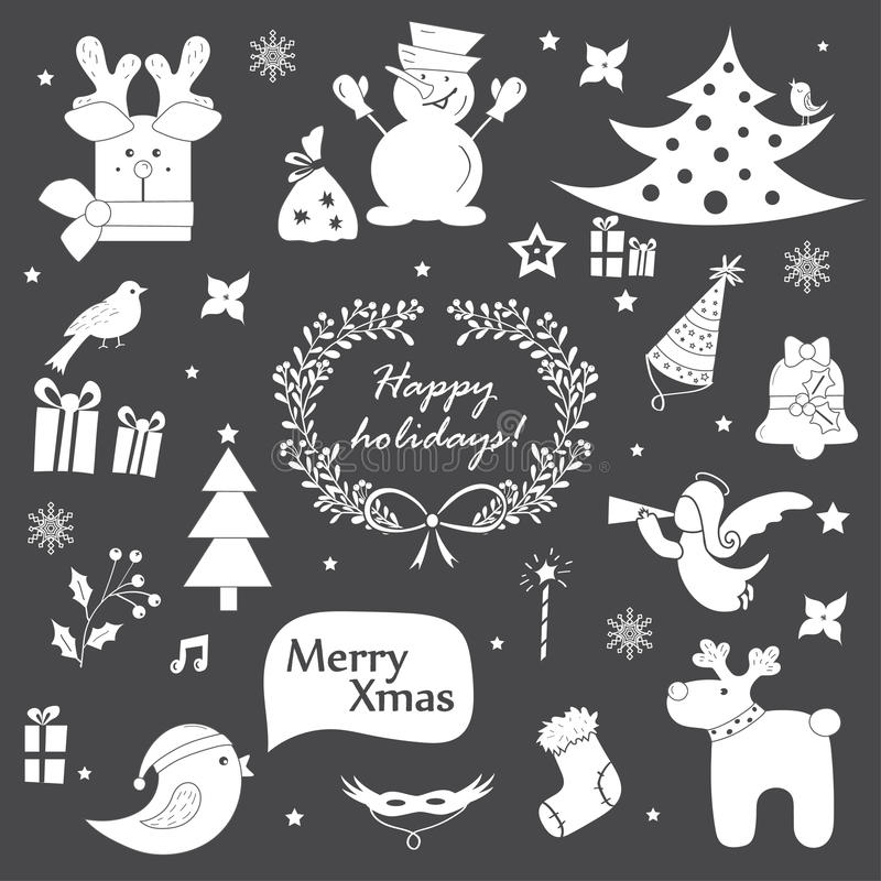 Christmas icons, elements and illustrations set royalty free illustration