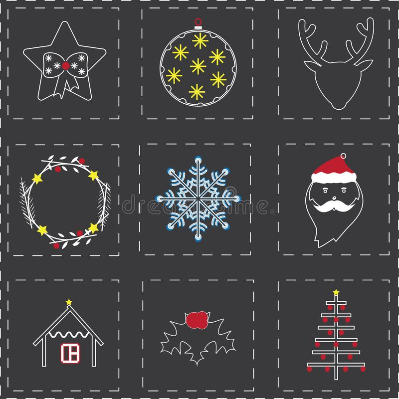 Christmas icons in mixed style of boho and thin lines stock photography