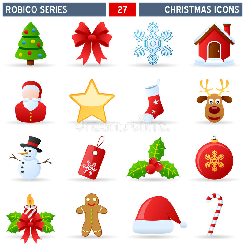 Christmas Icons - Robico Series. Collection of 16 colorful Christmas icons, isolated on white background. Robico Series: check my portfolio for the complete set