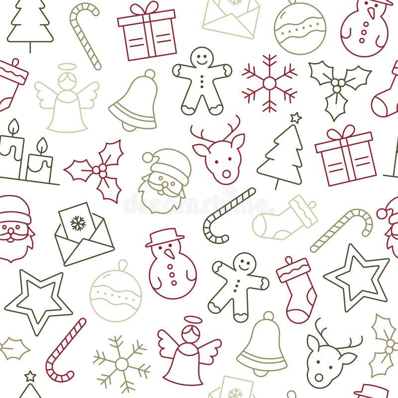 Christmas Icons Pattern. Christmas Icons Seamless Pattern - Christmas Decoration stock illustration