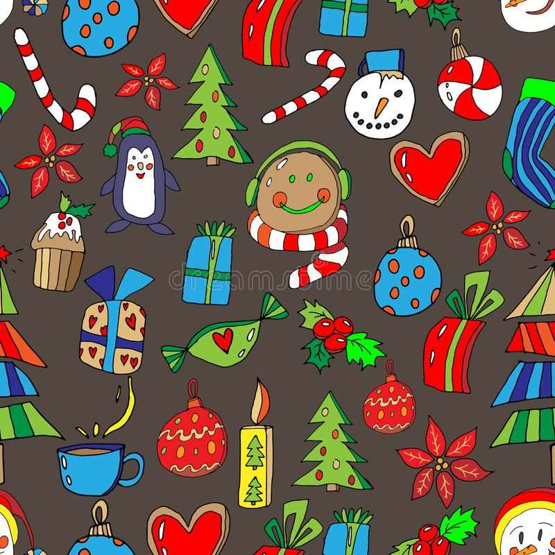 Christmas Icons Seamless Pattern with New Year Tree, penguin, gingerbread, gifts, lollipop, cupcake and decor. Happy Winter. Holiday Wallpaper with Nature Decor vector illustration