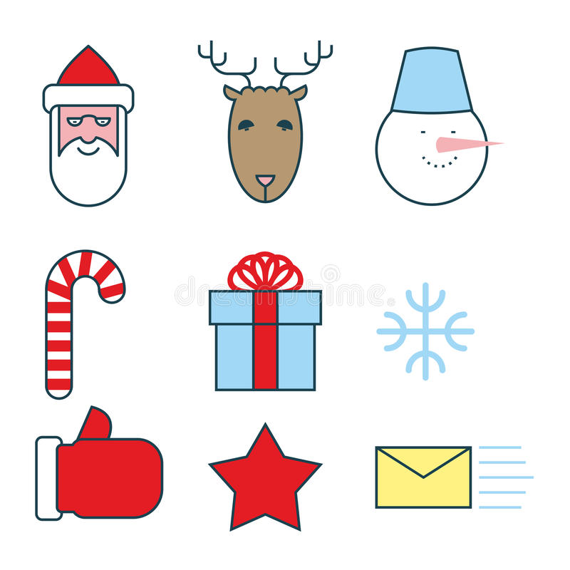 Christmas icons set. Flat line icons for new year. Santa Claus royalty free illustration