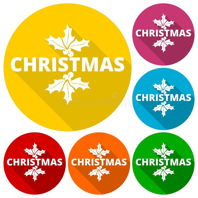 Christmas icons set with long shadow. Vector icon stock illustration