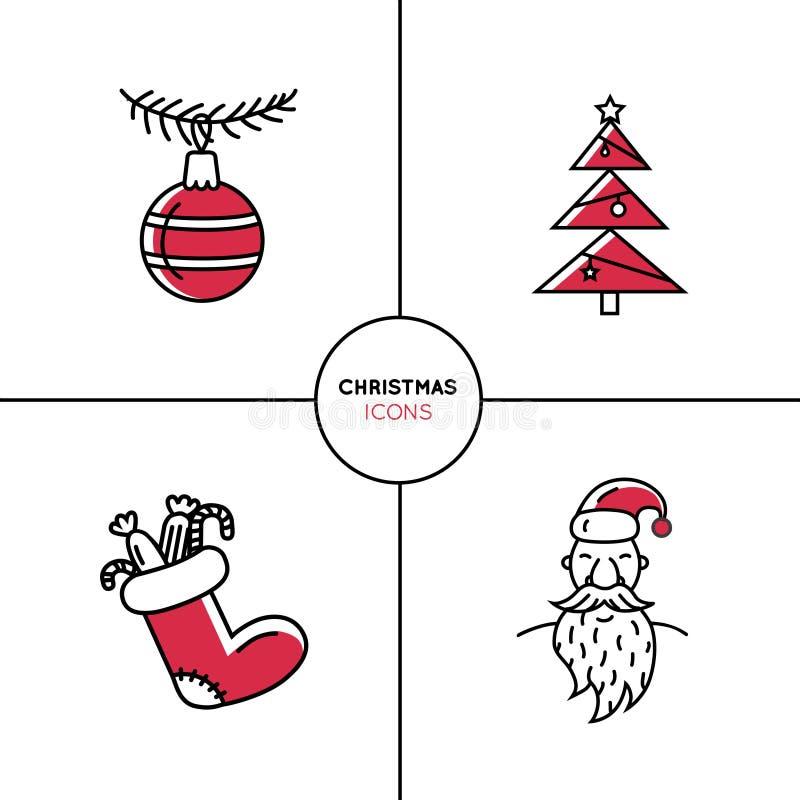 Christmas icons set - Santa Claus, christmas tree, christmas ball and Christmas sock. New year symbols stock photo