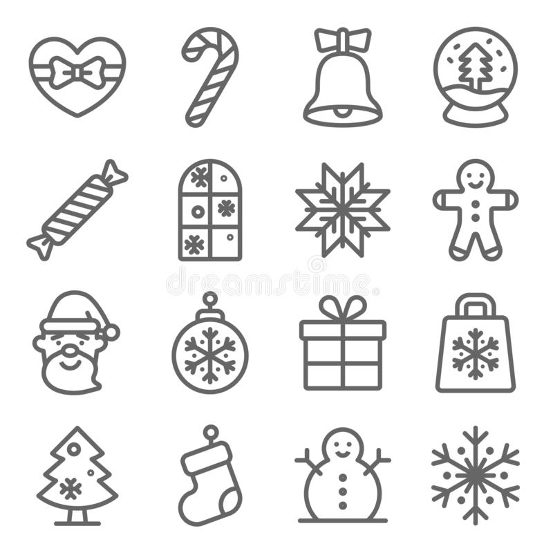 Christmas icons set vector illustration. Contains such icon as Santa Claus, Gingerbread, Christmas tree, Snowman, Winter and more. Expanded Stroke stock illustration