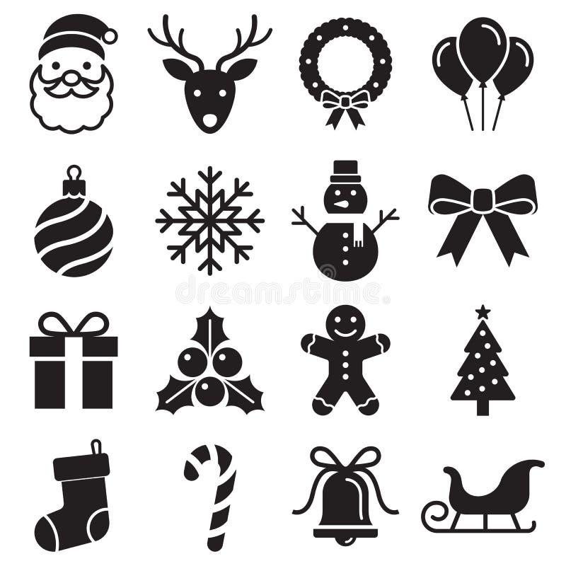 Christmas icons set. Vector illustrations. royalty free illustration