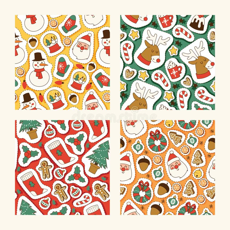 Christmas icons vector symbols for greeting card winter celebration seamless pattern design. Merry christmas holidays vector illustration