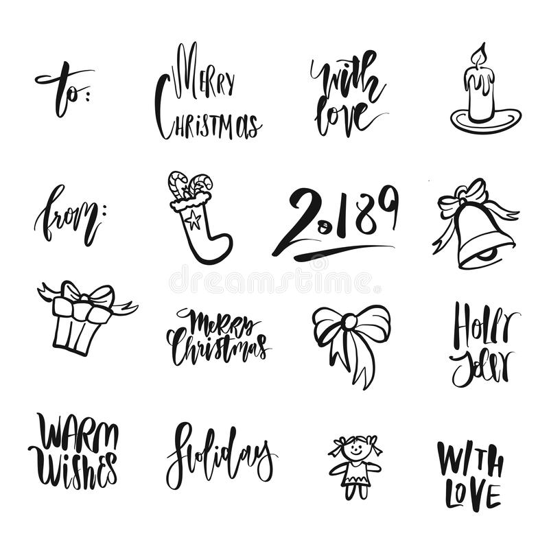 Christmas icons and words. Nice seasonal calligraphic artwork for greeting cards. Hand-drawn vector sketch royalty free illustration